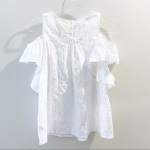 Anthropologie Tops - Anthropologie Maeve White Eyelet Ruffle Sleeve Top